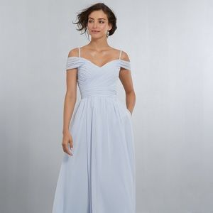 MoriLee Chiffon Dress with Off the Shoulder Draped